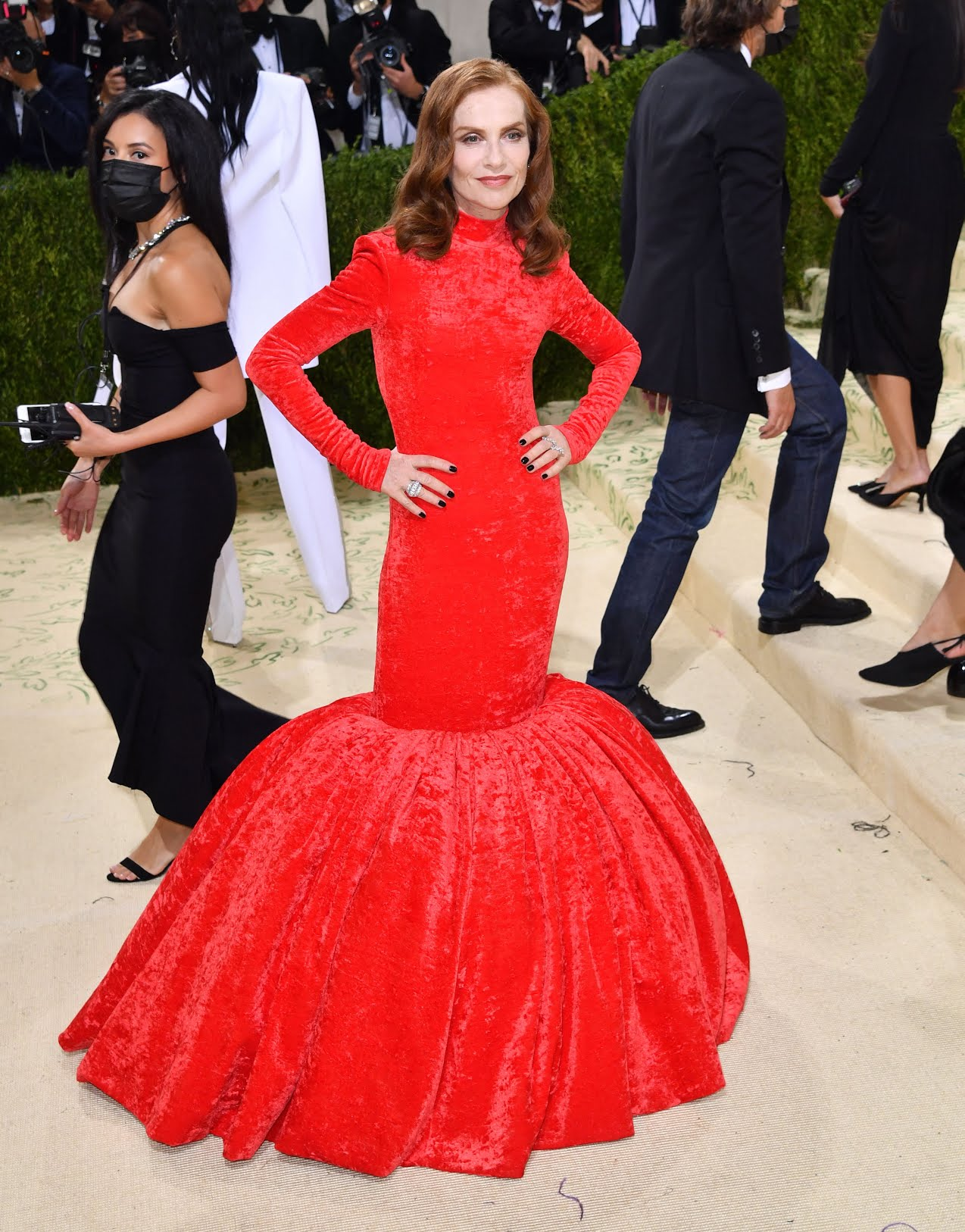 Image may contain: Clothing, Shoe, Footwear, Apparel, Isabelle Huppert, Human, Person, Evening Dress, Fashion, Gown, and Robe